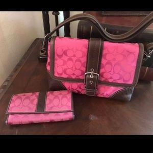 Pink Coach bag with matching wallet